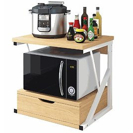 21.3'' X 13.8'' X 19.7'' Kitchen Baker Rack Microwave Oven Stand Cabinet Storage Cart Shelf With Drawer