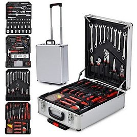 799pcs Aluminum Trolley Case Tool Set, Tool Box With Mechanic Travel Tool Kit Wrenches Socket Trolley Standard Metric Hand Tool