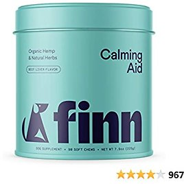 Finn Calming Aid Calming Dog Treats - Natural Dog Calming Chews with Melatonin & Chamomile for Stress Support, Calm Behavior, Relaxation - Made in The USA, 90 Soft Chew Treats