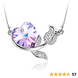 """Angelady """" Rose Romance Rose Flower Necklace for Women Crystals with 5A Cubic Zirconia, Love Heart Pendant Necklaces Gifts for Mom Grandmom On Mother's Day"""