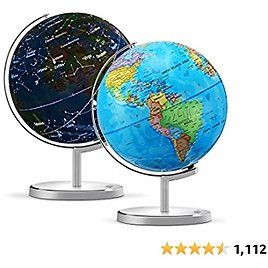 """KingSo World Globe for Kids 13"""" Illuminated Spinning World Globe 3 in 1 Interactive Earth Globe for Kids Learning with Heavy Duty Stand, Political Map, Constellation,LED Night Light"""