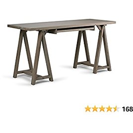 SIMPLIHOME Sawhorse SOLID WOOD Modern Industrial 60 Inch Wide Home Office Desk, Writing Table, Workstation, Study Table Furniture in Distressed Grey