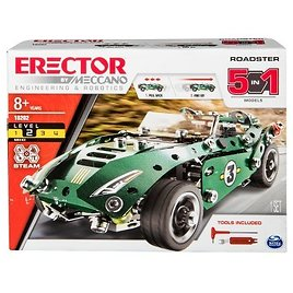 Erector By Meccano Roadster 5-in-1 Building Kit - STEM Engineering Education Toy