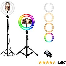 """10"""" Selfie Ring Light, RGB LED Ring Light 3200-6500K with Tripod Stand & Cell Phone Holder for Live Stream/Make Up/YouTube/TikTok/Photography/Video Recording Compatible with IPhone & Android Phone"""