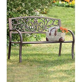 Rust Finish Blooming Outdoor Bench