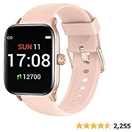 Letsfit EW1 Smart Watch Compatible with IPhone and Android Phones, Fitness Tracker with Heart Rate Monitor, Sleep Monitor & Blood Oxygen Saturation, 5ATM Waterproof Smartwatch for Women Men-Pink