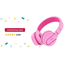 Limited-time Deal: Besom I36 Kids Headphones for Children with Mic Control,Stereo Adjustable Foldable Headset, Tangle-Free Cord,3.5mm Audio Jack Wired On-Ear Headphones for Children,Teens,Girls,Boys,Adults (Pink Red)