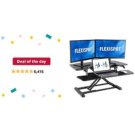 Deal of The Day: FLEXISPOT Standing Desk Converter - 35 Inch Height Adjustable Stand Up Desk Riser, Black Home Office Desk for Dual Monitors and Laptop (M7MB)