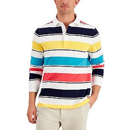 Club Room Men's Roadmap Striped Rugby Shirt, Created for Macy's & Reviews - Polos - Men