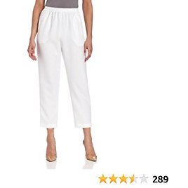 Alfred Dunner Women's Pull-On Style All Around Elastic Waist Polyester Cropped Missy Pants
