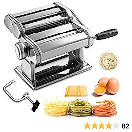 Pasta Maker Machine, 150 Roller Manual Pasta Makers with 7 Adjustable Thickness Setting for Making Fresh Noodle or Dumpling Skins, Kitchen Gift Set Includes 2 In1 Dough Cutter, Clamp & Hand Crank