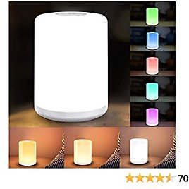 Table Lamp, LBell Eye-Caring Bedside Lamps + Dimmable Warm White Light & Color Changing RGB for Bedrooms, 5 Lighting Modes with 3 Brightness Levels, Ambiance Light, Touch Control, 30/60 Mins Timer