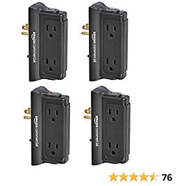 AmazonCommercial Black,4-PackMounted Wall Adapter Tap Surge Protector