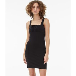 Solid Square-Neck Ruched Mini Dress***