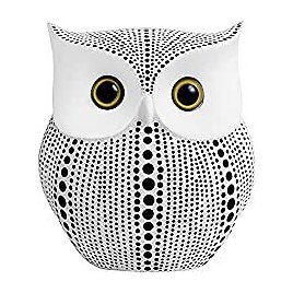 Owl Statue Decor (White) Small Crafted Figurines for Home Decor 2021 Holiday Accents, Living Room Bedroom Office Book Shelf TV Stand Fireplace Mantel Decoration, BFF Gifts for Birds Lovers By APPS2Car: Kitchen & Dining