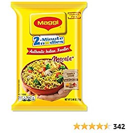 Maggi Masala 2-Minute Noodles India Snack - Largest Pack (Case of 12)