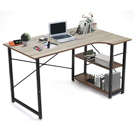 Seatzone 47-inch L-shaped Computer Desk With Storage Shelves