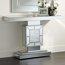 """Medina 44"""" Wide Mosaic Mirrored Console Table"""