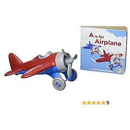 Green Toys Airplane & Board Book, 4C - Pretend Play, Motor Skills, Reading, Kids Toy Vehicle. No BPA, Phthalates, PVC. Dishwasher Safe, Recycled Materials, Made in USA.