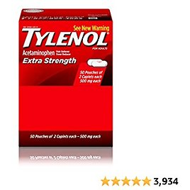 Tylenol Extra Strength Caplets with Acetaminophen, Pain Reliever & Fever Reducer (1 Count Has 50 Packets of 2 Capsules), 1 Count