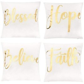 """Juvale Throw Pillow Covers - 4-Pack Decorative Couch Throw Pillow Cases for Girls Woman, White Cover Gold Foil Lettering Design Cushion Covers, 17x17"""""""