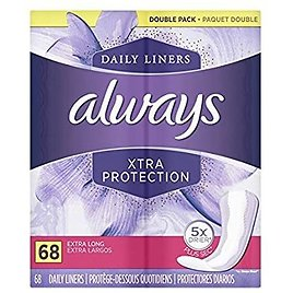 68 Count Always Xtra Protection Extra Long Daily Liners