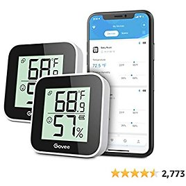 Govee Temperature Humidity Monitor 2-Pack, Indoor Room Thermometer Hygrometer with App Alert, Mini Bluetooth Digital Thermometer Humidity Sensor with Data Storage for Home, Greenhouse, Cellar