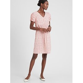 Puff-Sleeve Fit-and-Flare Dress (2 Colors)