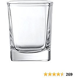 Circleware Take Square Shot Glasses, Set of 6, 2.3 Ounce, Clear, Limited Edition Glassware Whiskey Drinking Cups