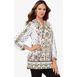 Banded-Collar Tunic with Split Neck