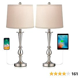 Befano Table Lampfor Bedroom, Fabric Bedside Lamp with 2 USB Ports Flaxen Fabric Shade, Lamps for Bedrooms Minimalist Design for Living Room - (Set of 2 Table Lamps)