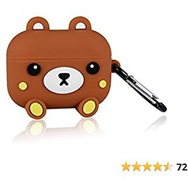 Mulafnxal for Airpod Pro Case, Cute Cartoon Anime Silicone Air Pods Cover, 3D Funny Fun Cool Keychain Design Fashion Kits Soft Skin Cases Kids Boys Teens Girls for Airpods Pro/3 (Stand Relax Bear)