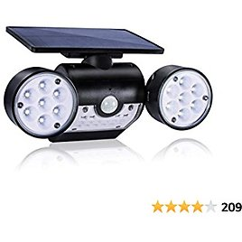 Solar Motion Sensor Light Outdoor Security Lights Dusk-to-Dawn, Rotatable Dual Head, Wireless IP65 Waterproof, LED Wall Light for Patio, Garage and Garden