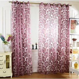 Wisremt 1 PCS Sheer Curtains Geometric Window Tulle Curtains Jacquard Curtains For Living Room Bedroom Panels