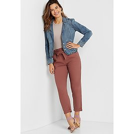 High Rise Brown Linen Tie Waist Ankle Pant
