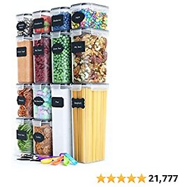 Chef's Path Airtight Food Storage Containers Set - Kitchen & Pantry Organization - BPA-Free - Plastic Canisters with Durable Lids Ideal for Cereal, Flour & Sugar - Labels, Marker & Spoon Set (14)