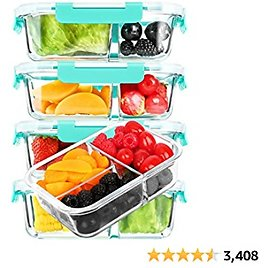 [5-Pack, 36 Oz]Glass Meal Prep Containers 3 Compartment with Lids, Glass Lunch Containers,Food Prep Lunch Box,Bento Box,BPA-Free, Microwave, Oven, Freezer, Dishwasher (4.5 Cups, Green)