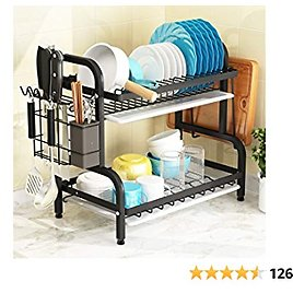 Dish Drying Rack, 1Easylife 2-Tier Compact Kitchen Dish Rack Drainboard Set, Large Rust-Proof Dish Drainer with Utensil Holder, Cutting Board Holder for Kitchen Counter Tableware Organizer Space Saver