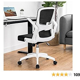 ComHoma White Mesh Office Chair-Modern Ergonomic Desk Chair, Swivel Mid Back Comfortable Computer Office Chairs with Adjustable Arms and Lumbar Support
