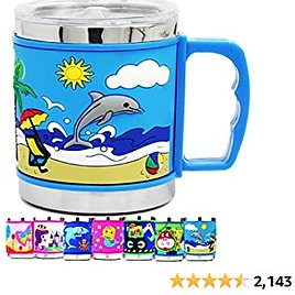 12 Oz Kids 304 Stainless Steel DOLPHINS 3D Mug with 2 Pack Slider Closure Lids - Eco-Friendly - BPA Free - By F-32 Signature Collection (Dolphins)