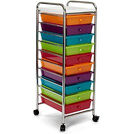 Seville Classics 10-Drawer Multipurpose Mobile Rolling Utility Storage Organizer with Tray Cart, Mulitcolor (Pearlized)