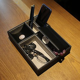 Men's Faux Leather Valet Tray Organizer