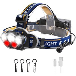 Save 50% On Rechargeable LED Headlamp with 8 Modes for Outdoor Hunting Camping Gear