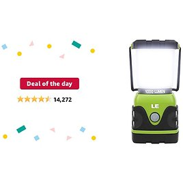 Deal of The Day: LE LED Camping Lantern, Battery Powered LED with 1000LM, 4 Light Modes, Waterproof Tent Light, Perfect Lantern Flashlight for Hurricane, Emergency, Survival Kits, Hiking, Fishing, Home and More