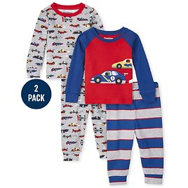 50% Off Baby And Toddler Boys Race Car Snug Fit Cotton Pajamas 2-Pack
