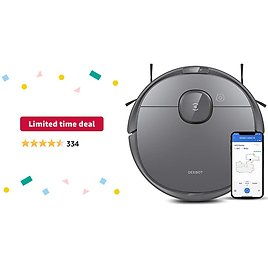 Limited-time Deal: Ecovacs Deebot T8 Robot Vacuum and Mop Cleaner, Precise Laser Navigation, Multi-floor Mapping, Intelligent Object Avoidance, Full-customize Clean, No-go and No-mop Zones, 180min Runtime Robotic Vacuum