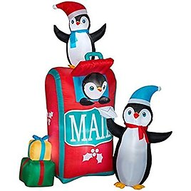 Gemmy 111873 Penguins and Mailbox Inflatable, Multi-color