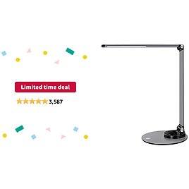 Limited-time Deal: TaoTronics Aluminum Alloy Dimmable LED Desk Lamp with USB Charging Port, Table Lamp for Office Lighting, 3 Color Modes & 6 Brightness Levels, Philips Enabled Licensing Program
