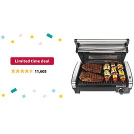 Limited-time Deal: Hamilton Beach Electric Indoor Searing Grill with Viewing Window and Removable Easy-to-Clean Nonstick Plate, 6-Serving, Extra-Large Drip Tray, Stainless Steel (25361)