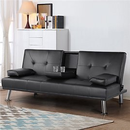 SmileMart Adjustable Faux Leather Sofa Bed